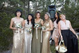 Beautiful Bridal Party bought their dresses (& DIY hair)